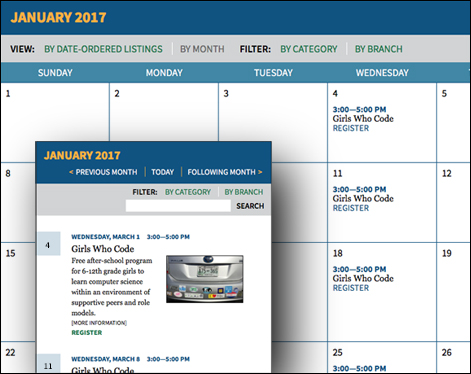 Assabet Interactive's two views of the calendar module