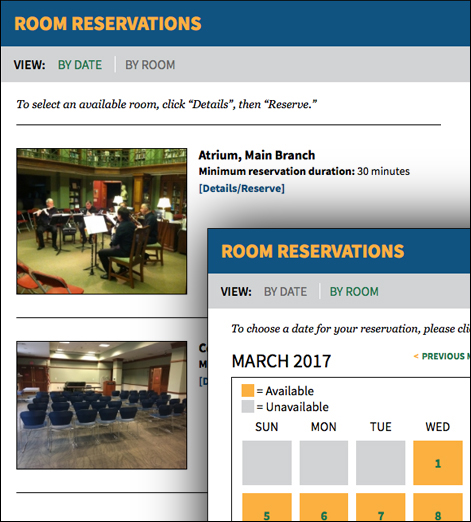 Assabet Interactive's two views of the meeting and study room booking module